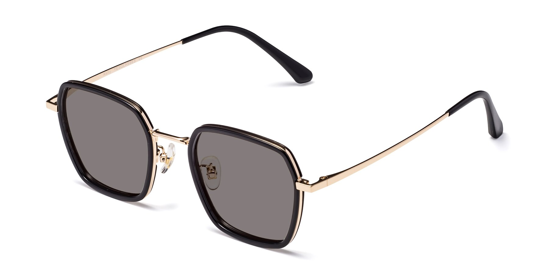Angle of Kelly in Black-Gold with Medium Gray Tinted Lenses