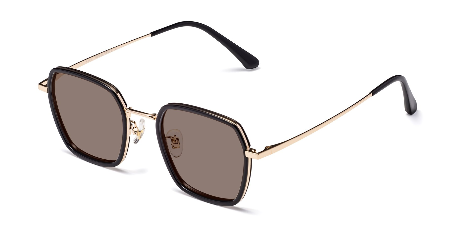 Angle of Kelly in Black-Gold with Medium Brown Tinted Lenses
