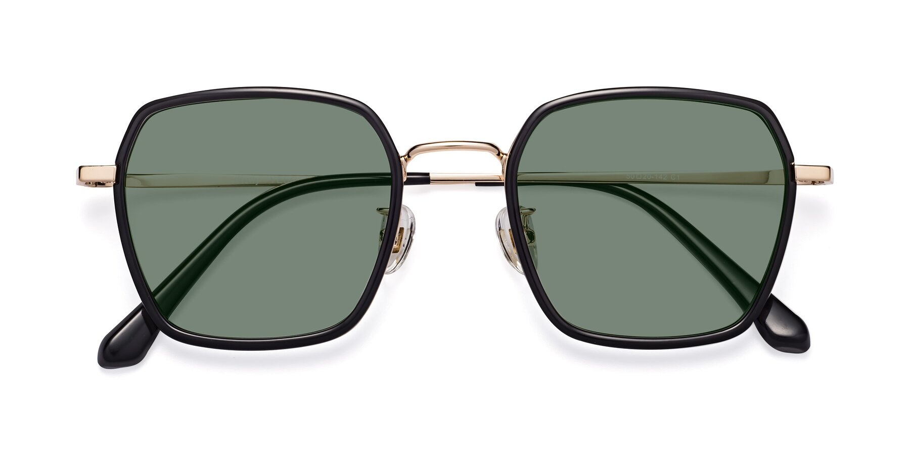 Folded Front of Kelly in Black-Gold with Medium Green Tinted Lenses