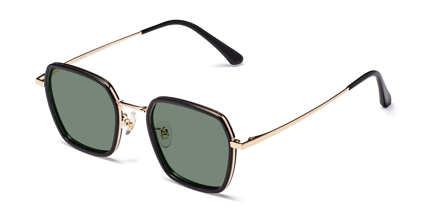 Angle of Kelly in Black-Gold with Medium Green Tinted Lenses