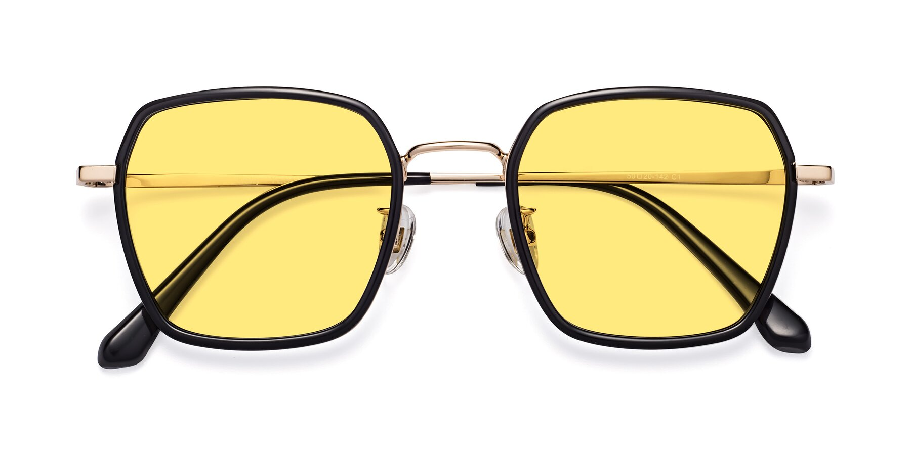 Folded Front of Kelly in Black-Gold with Medium Yellow Tinted Lenses