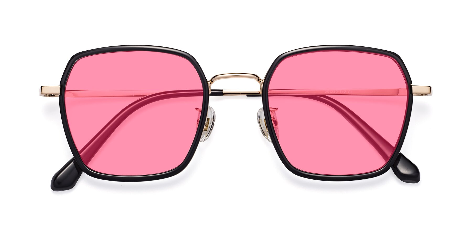 Folded Front of Kelly in Black-Gold with Pink Tinted Lenses