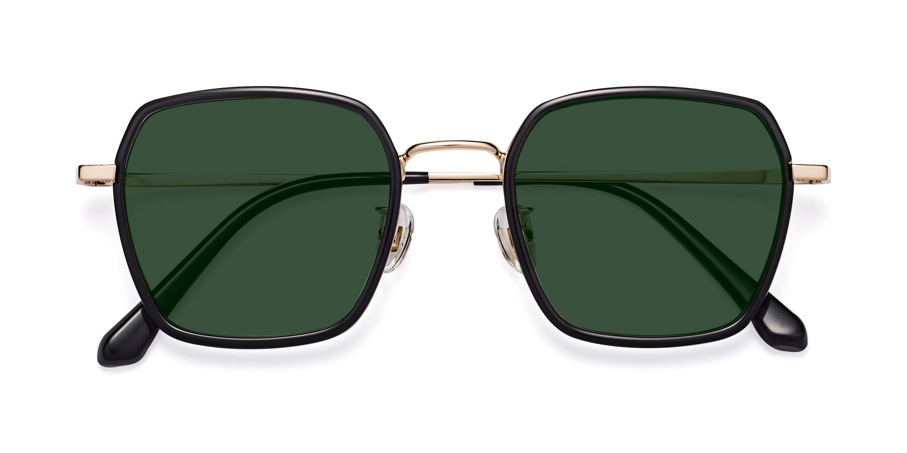 Folded Front of Kelly in Black-Gold with Green Tinted Lenses
