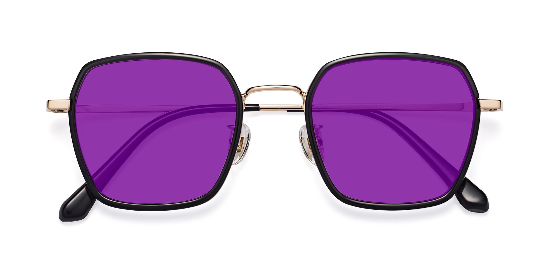 Folded Front of Kelly in Black-Gold with Purple Tinted Lenses