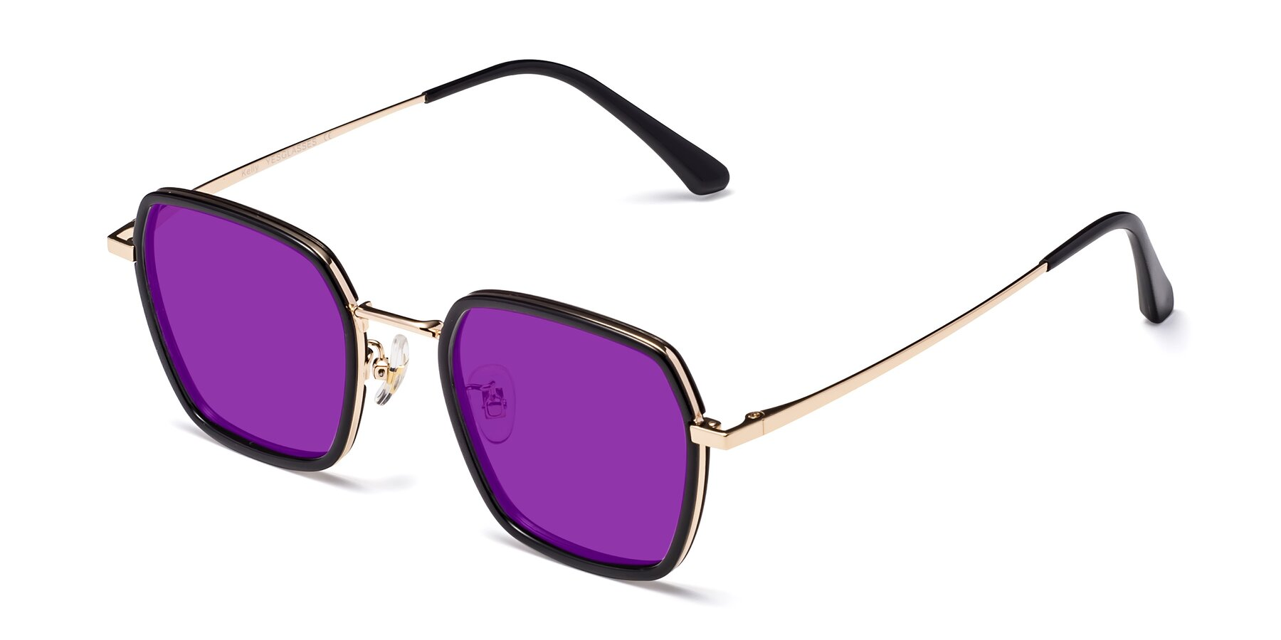 Angle of Kelly in Black-Gold with Purple Tinted Lenses