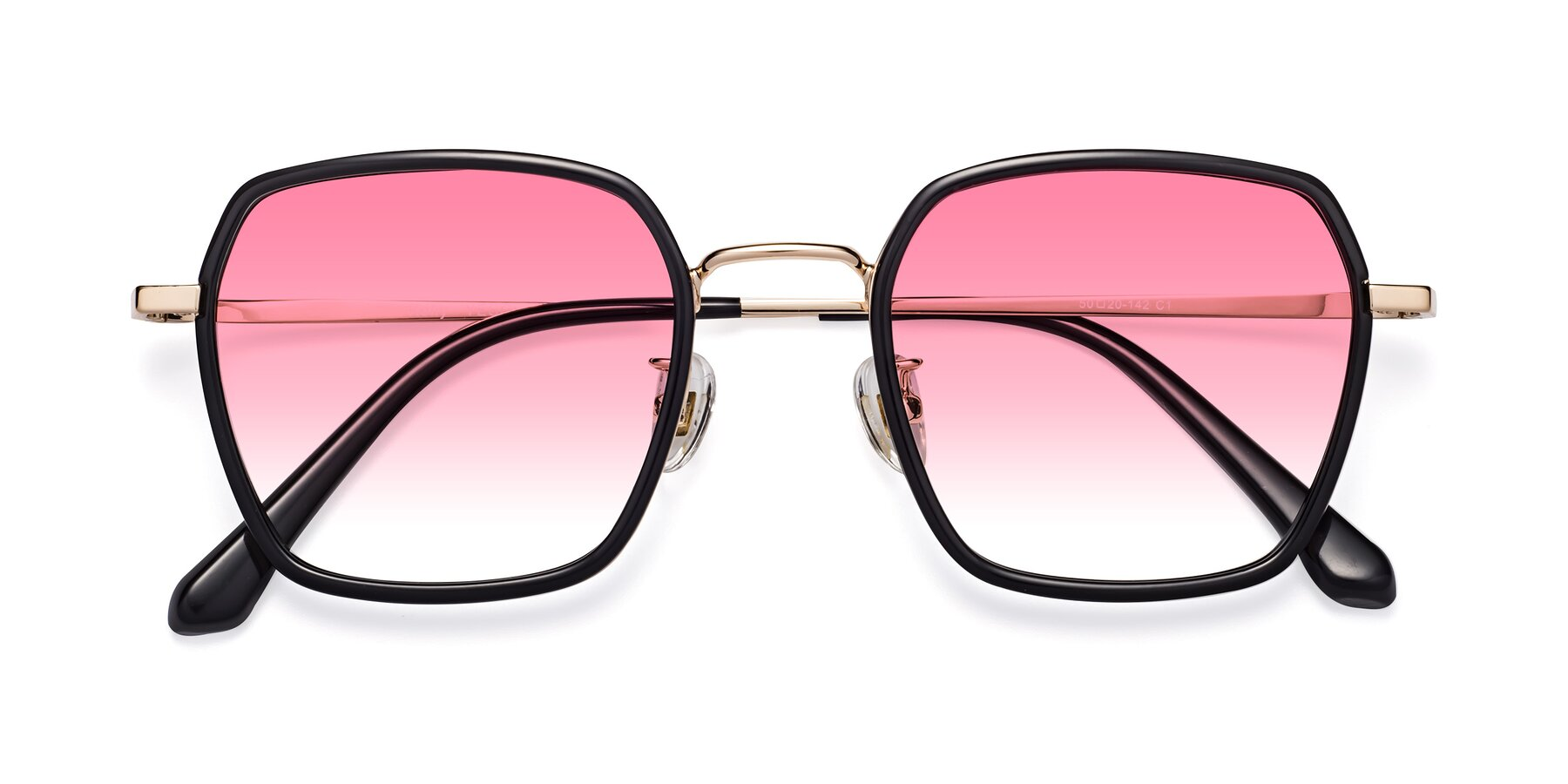 Folded Front of Kelly in Black-Gold with Pink Gradient Lenses
