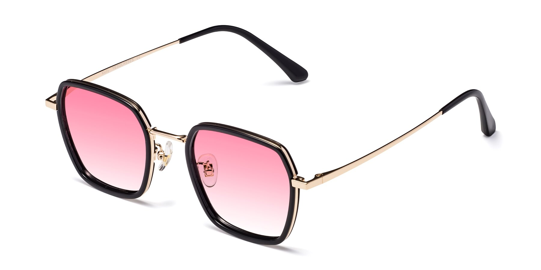 Angle of Kelly in Black-Gold with Pink Gradient Lenses