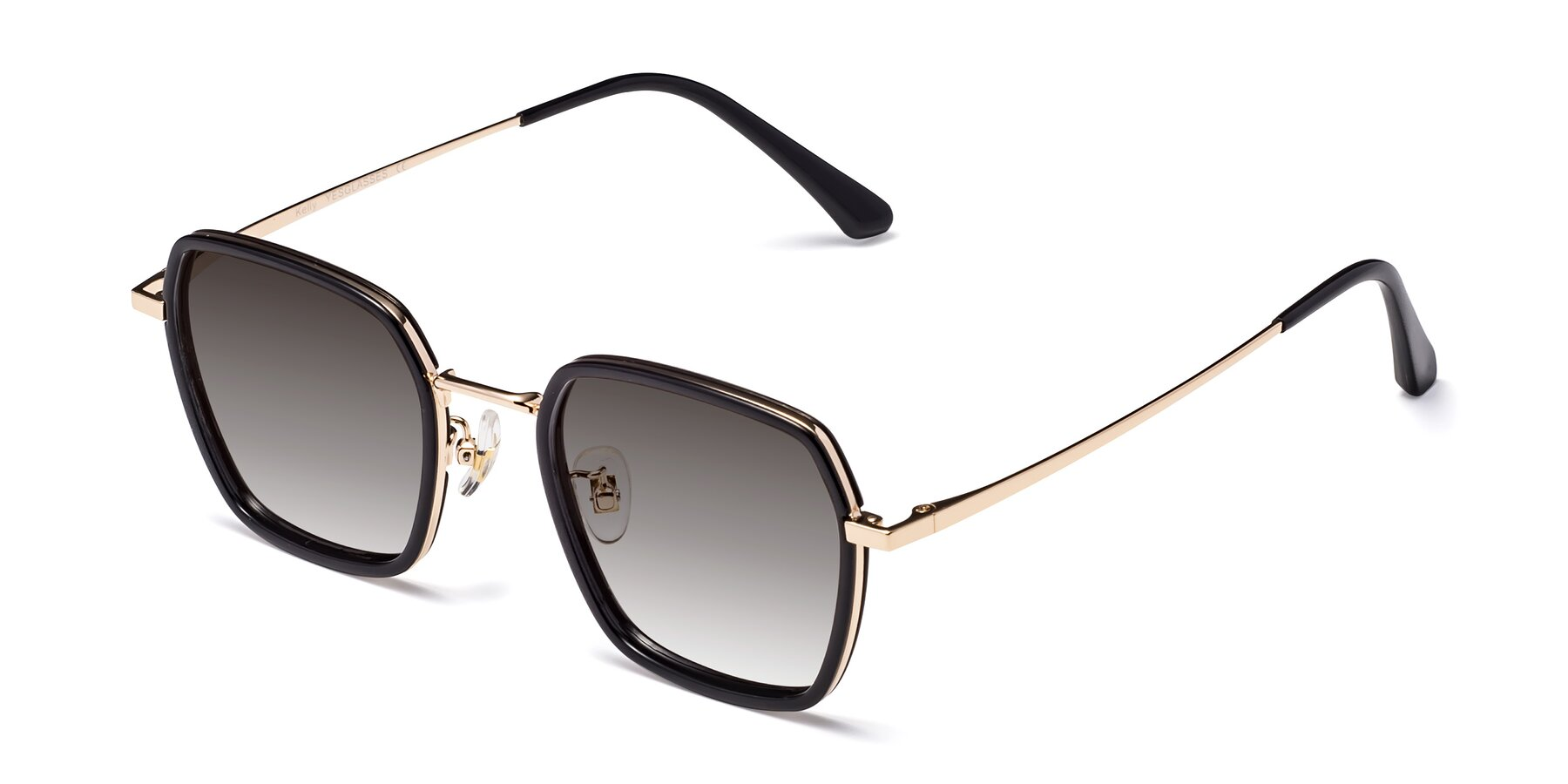 Angle of Kelly in Black-Gold with Gray Gradient Lenses