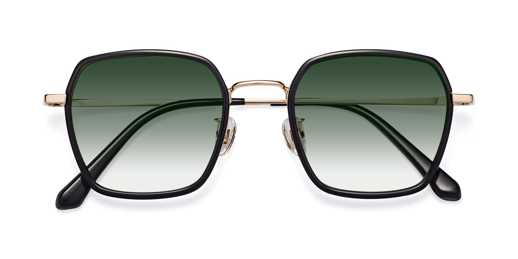 Folded Front of Kelly in Black-Gold with Green Gradient Lenses