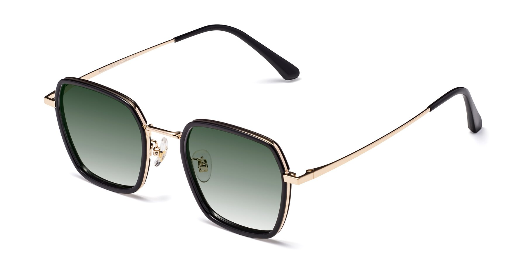 Angle of Kelly in Black-Gold with Green Gradient Lenses