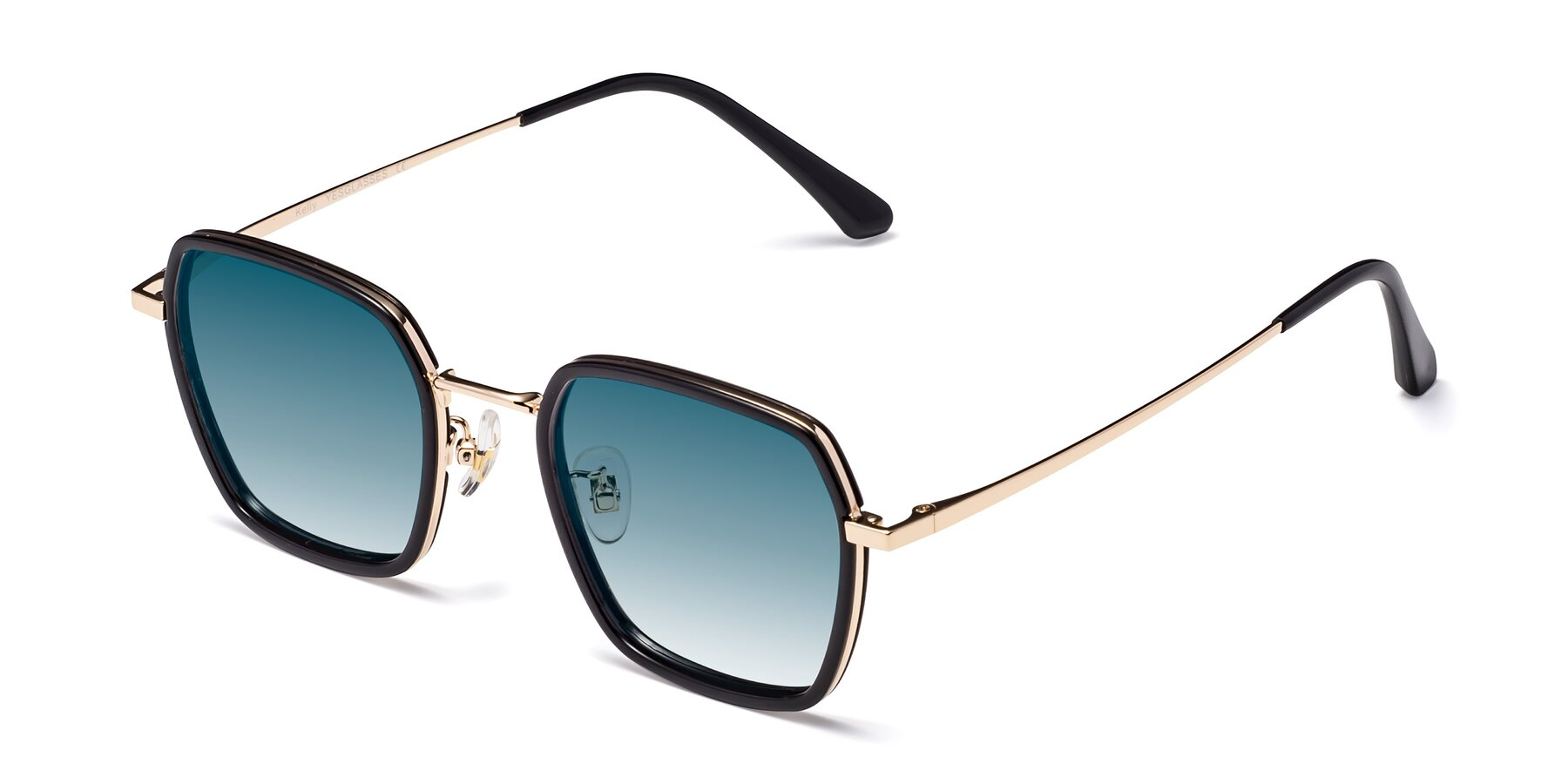 Angle of Kelly in Black-Gold with Blue Gradient Lenses