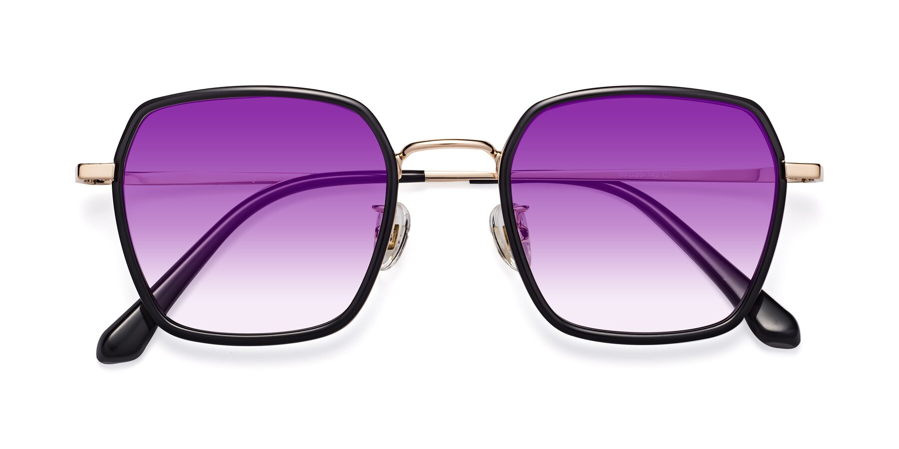 Folded Front of Kelly in Black-Gold with Purple Gradient Lenses
