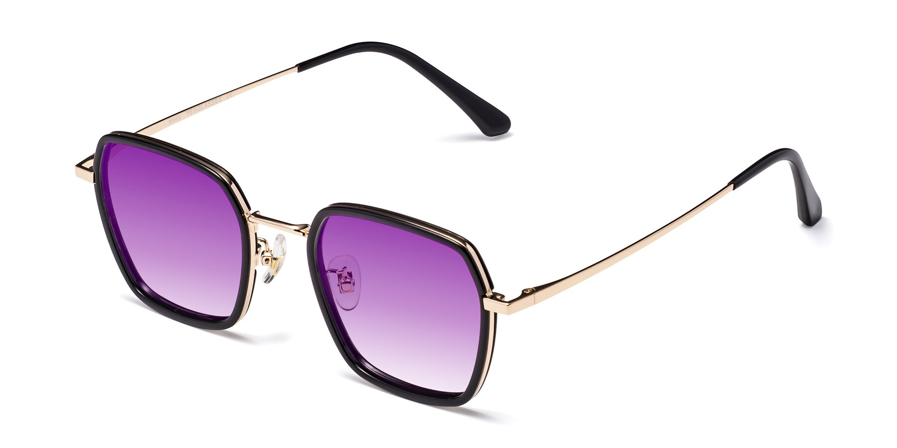 Angle of Kelly in Black-Gold with Purple Gradient Lenses
