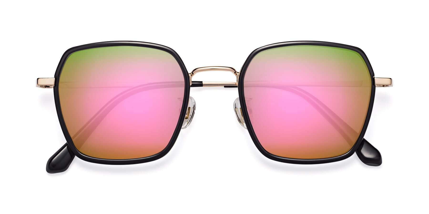 Folded Front of Kelly in Black-Gold with Pink Mirrored Lenses