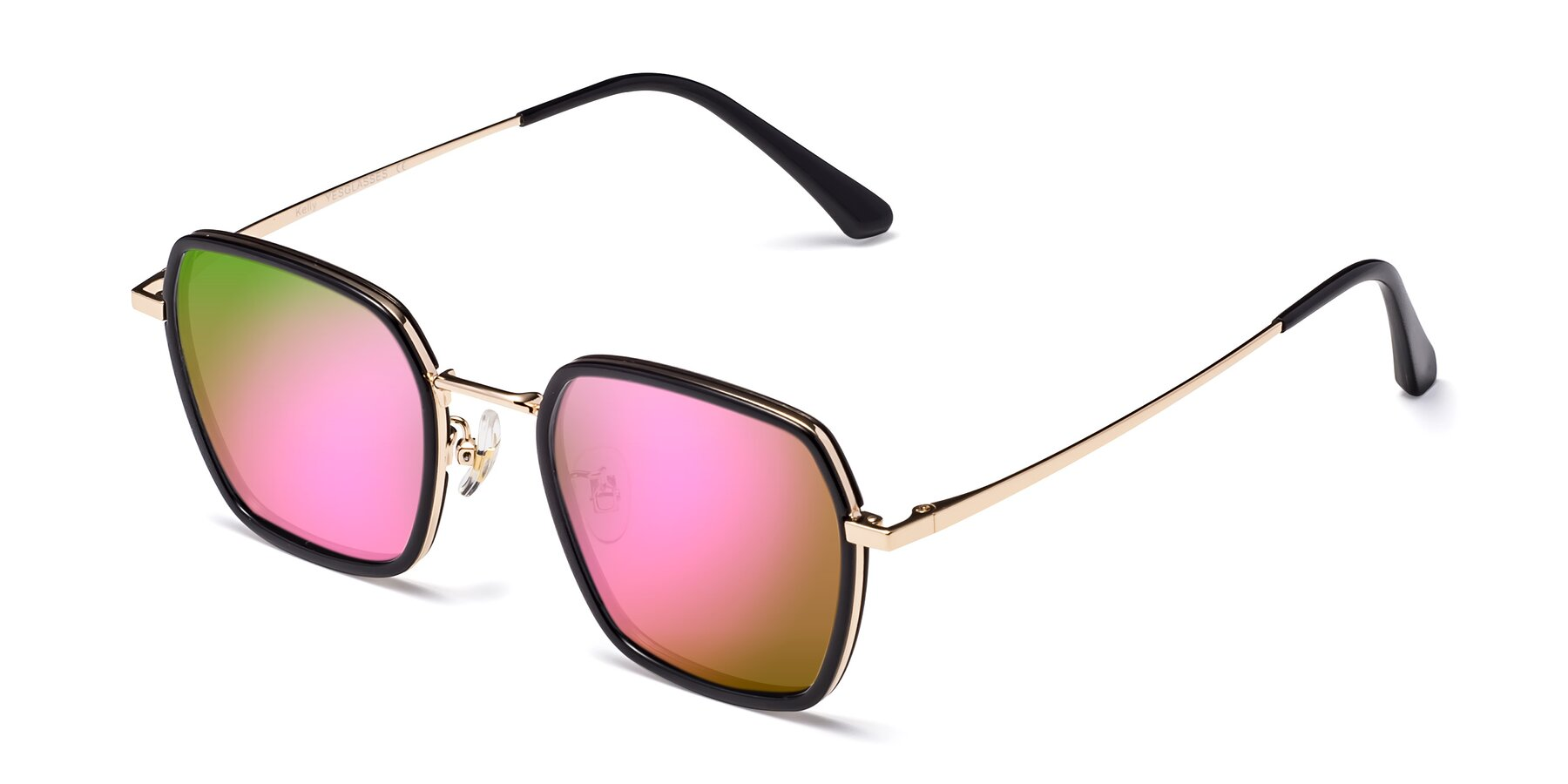 Angle of Kelly in Black-Gold with Pink Mirrored Lenses