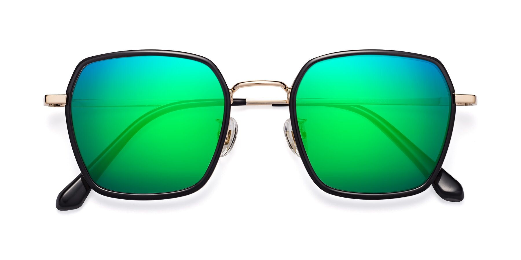 Folded Front of Kelly in Black-Gold with Green Mirrored Lenses