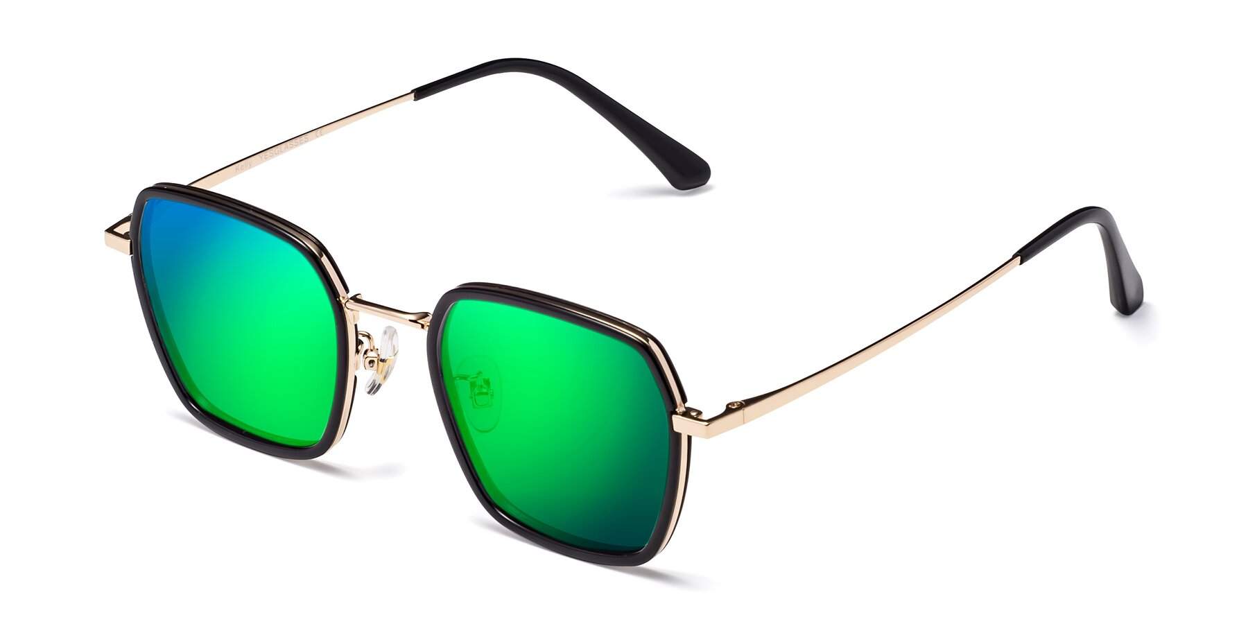 Angle of Kelly in Black-Gold with Green Mirrored Lenses