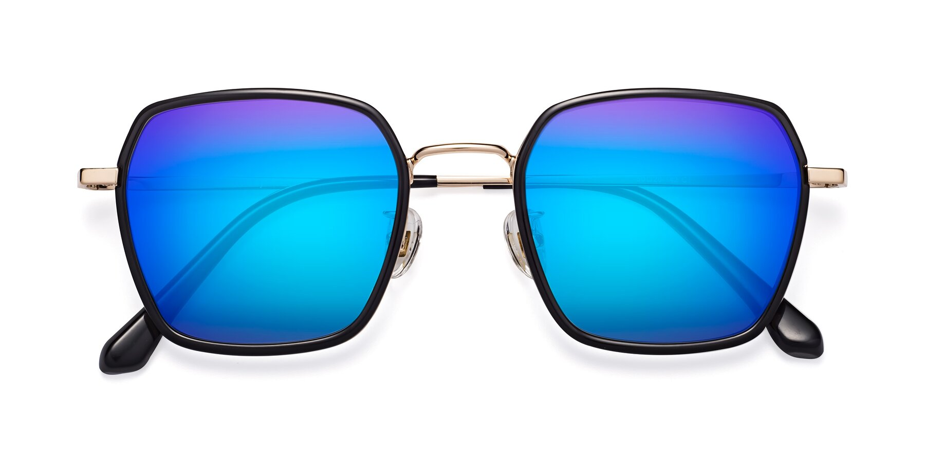 Folded Front of Kelly in Black-Gold with Blue Mirrored Lenses