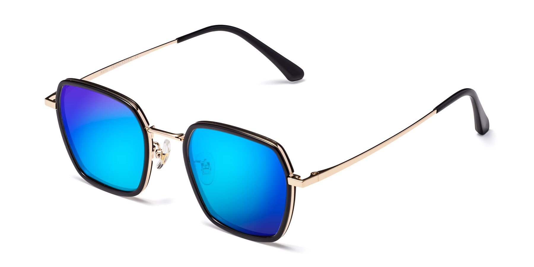 Angle of Kelly in Black-Gold with Blue Mirrored Lenses
