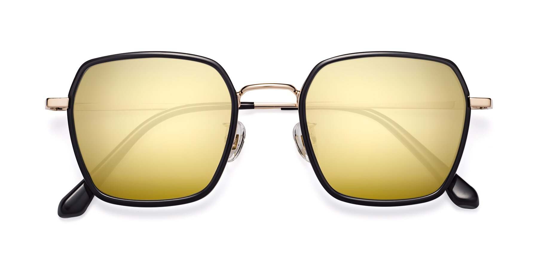 Folded Front of Kelly in Black-Gold with Gold Mirrored Lenses