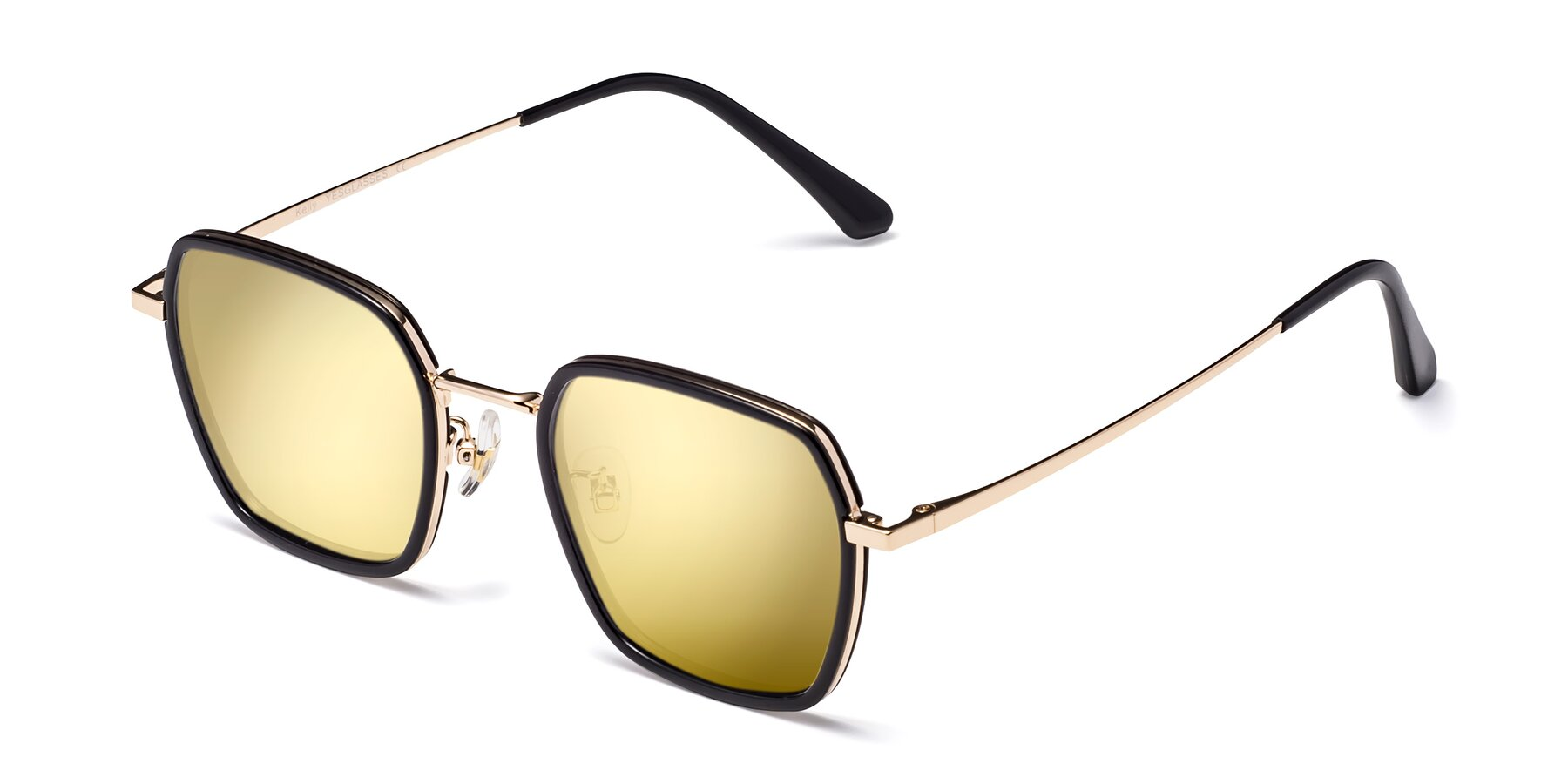 Angle of Kelly in Black-Gold with Gold Mirrored Lenses