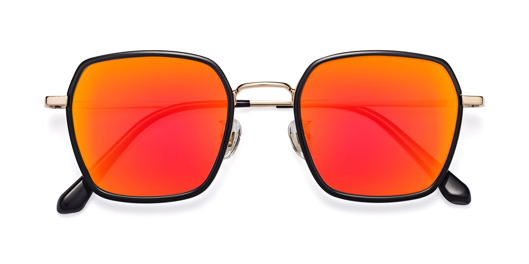 Folded Front of Kelly in Black-Gold with Red Gold Mirrored Lenses