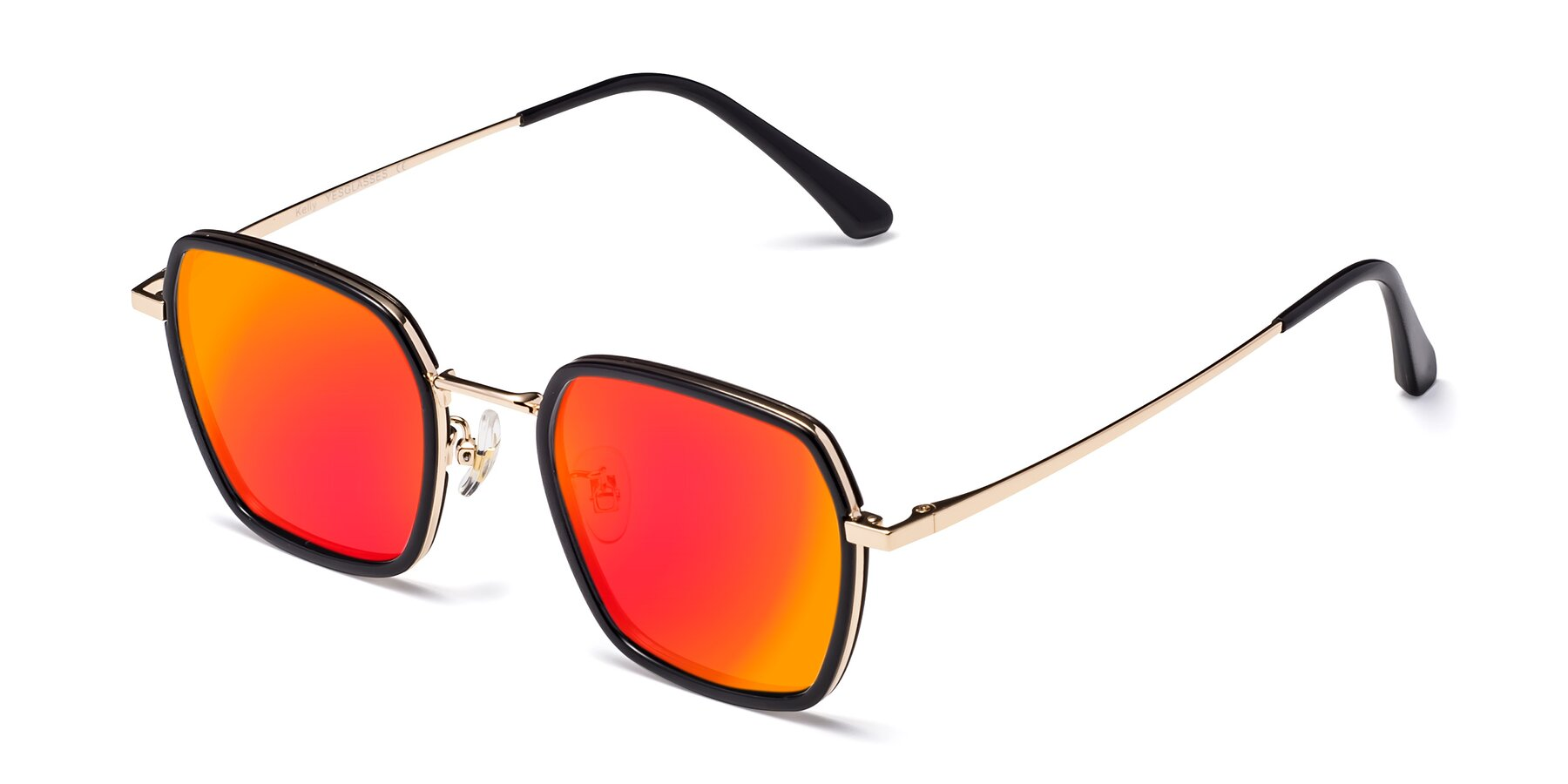Angle of Kelly in Black-Gold with Red Gold Mirrored Lenses