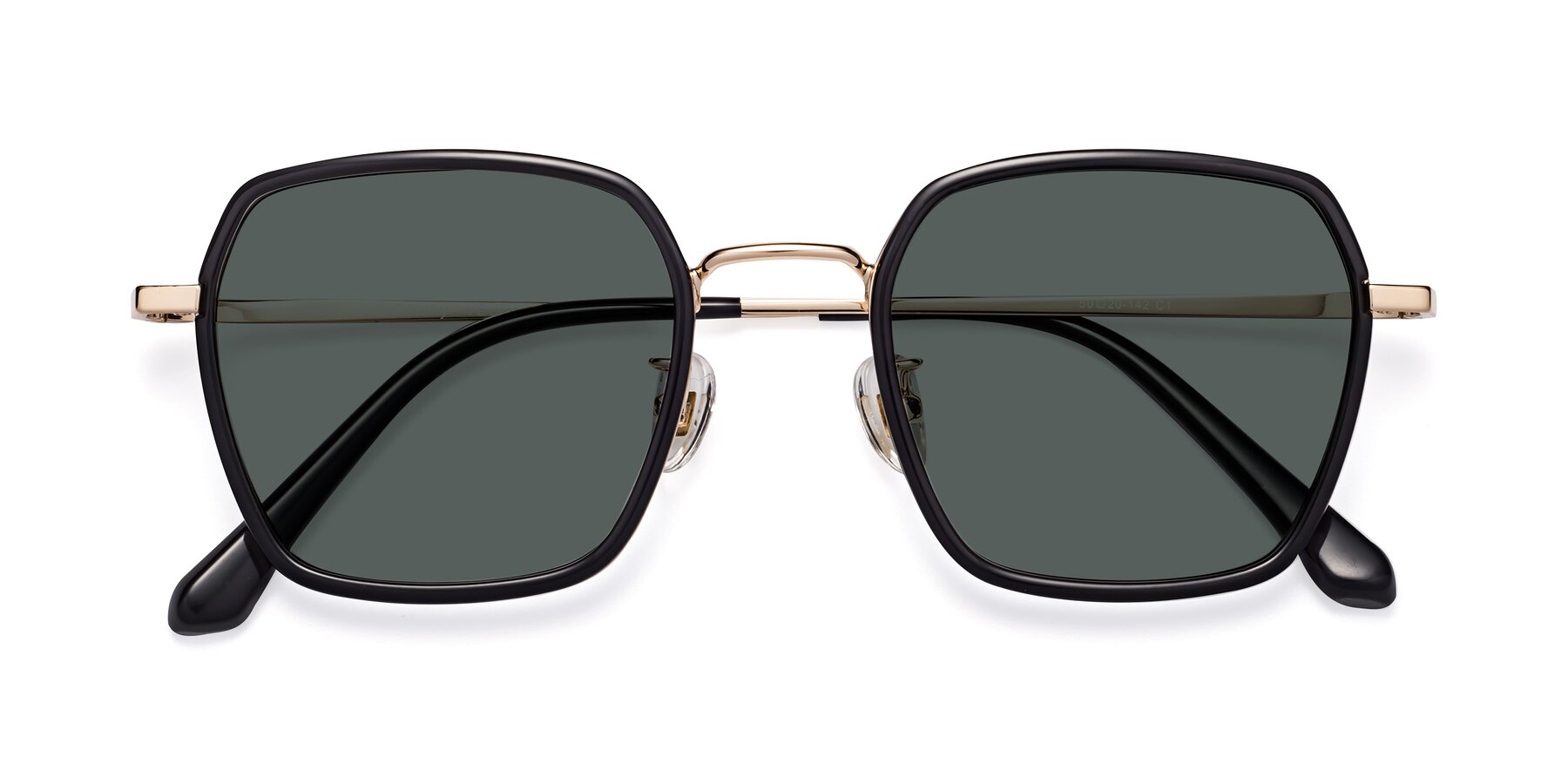 Folded Front of Kelly in Black-Gold with Gray Polarized Lenses