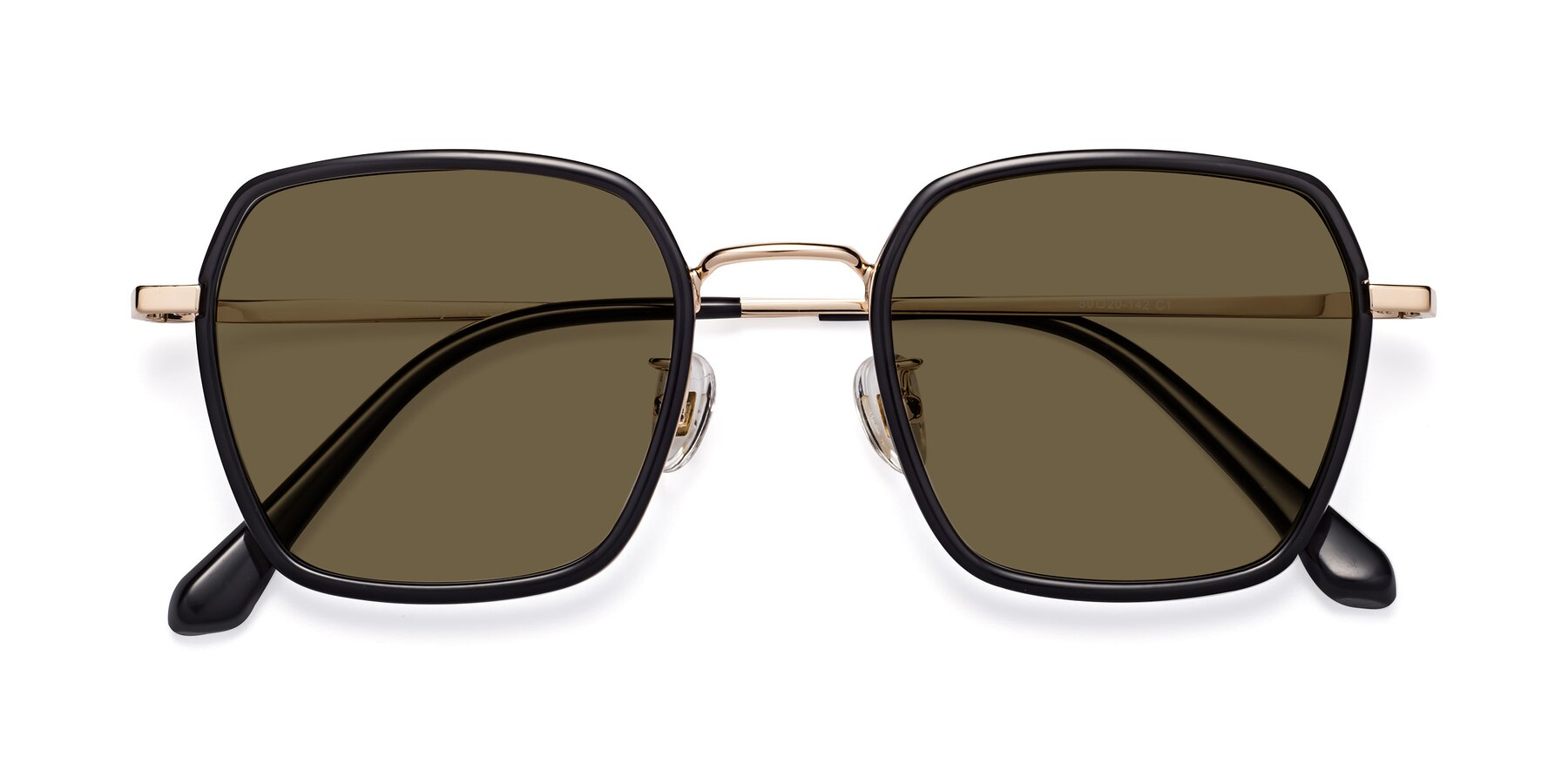 Folded Front of Kelly in Black-Gold with Brown Polarized Lenses