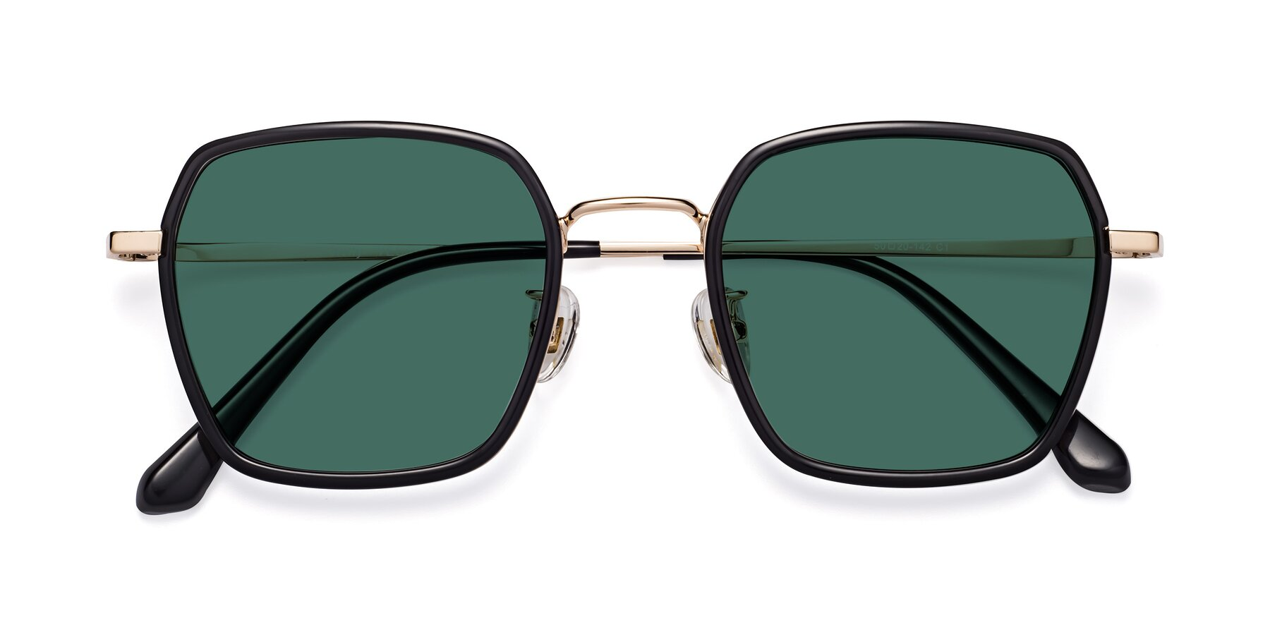 Folded Front of Kelly in Black-Gold with Green Polarized Lenses