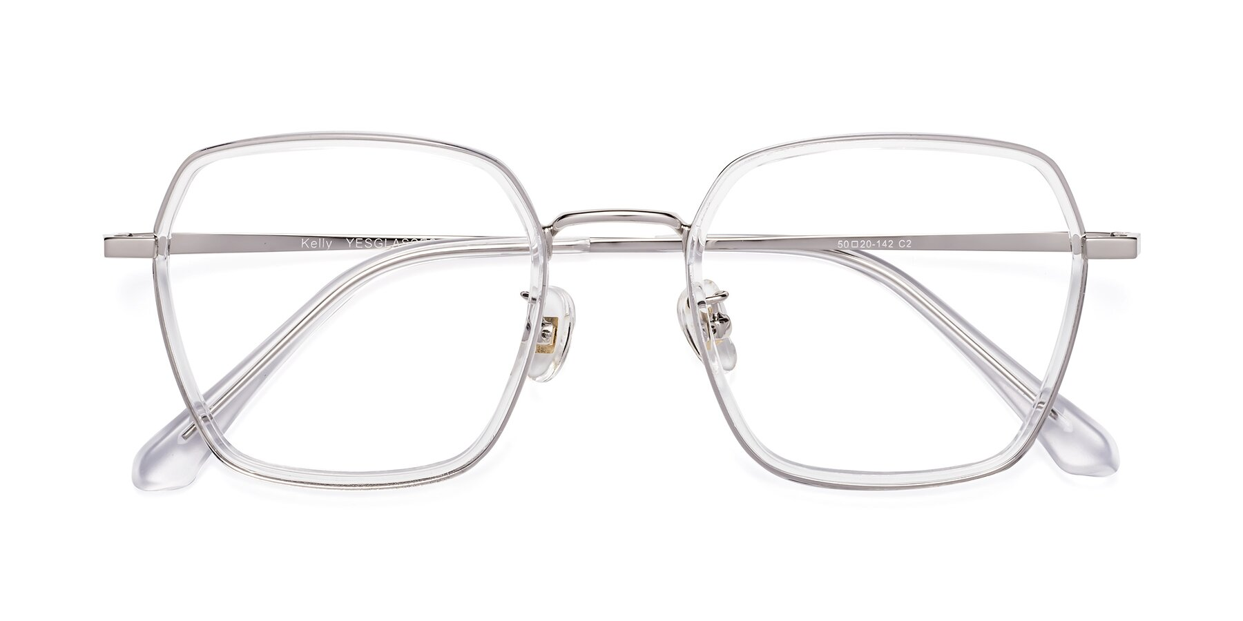 Folded Front of Kelly in Clear-Silver with Clear Eyeglass Lenses