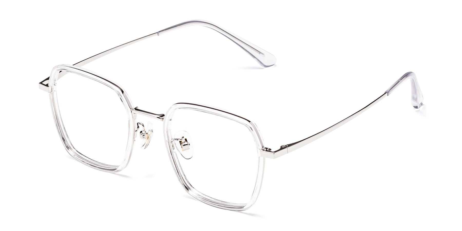 Angle of Kelly in Clear-Silver with Clear Eyeglass Lenses