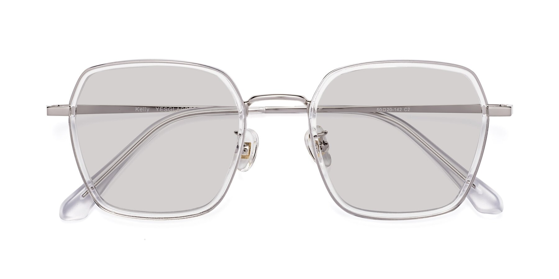Folded Front of Kelly in Clear-Silver with Light Gray Tinted Lenses