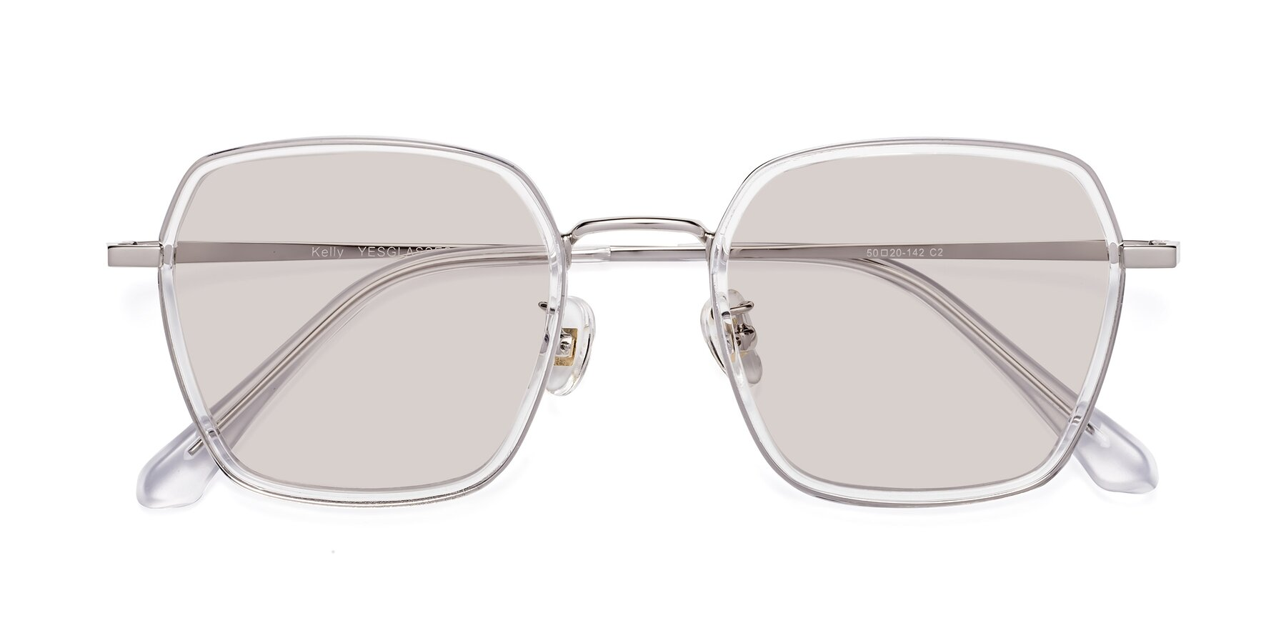 Folded Front of Kelly in Clear-Silver with Light Brown Tinted Lenses
