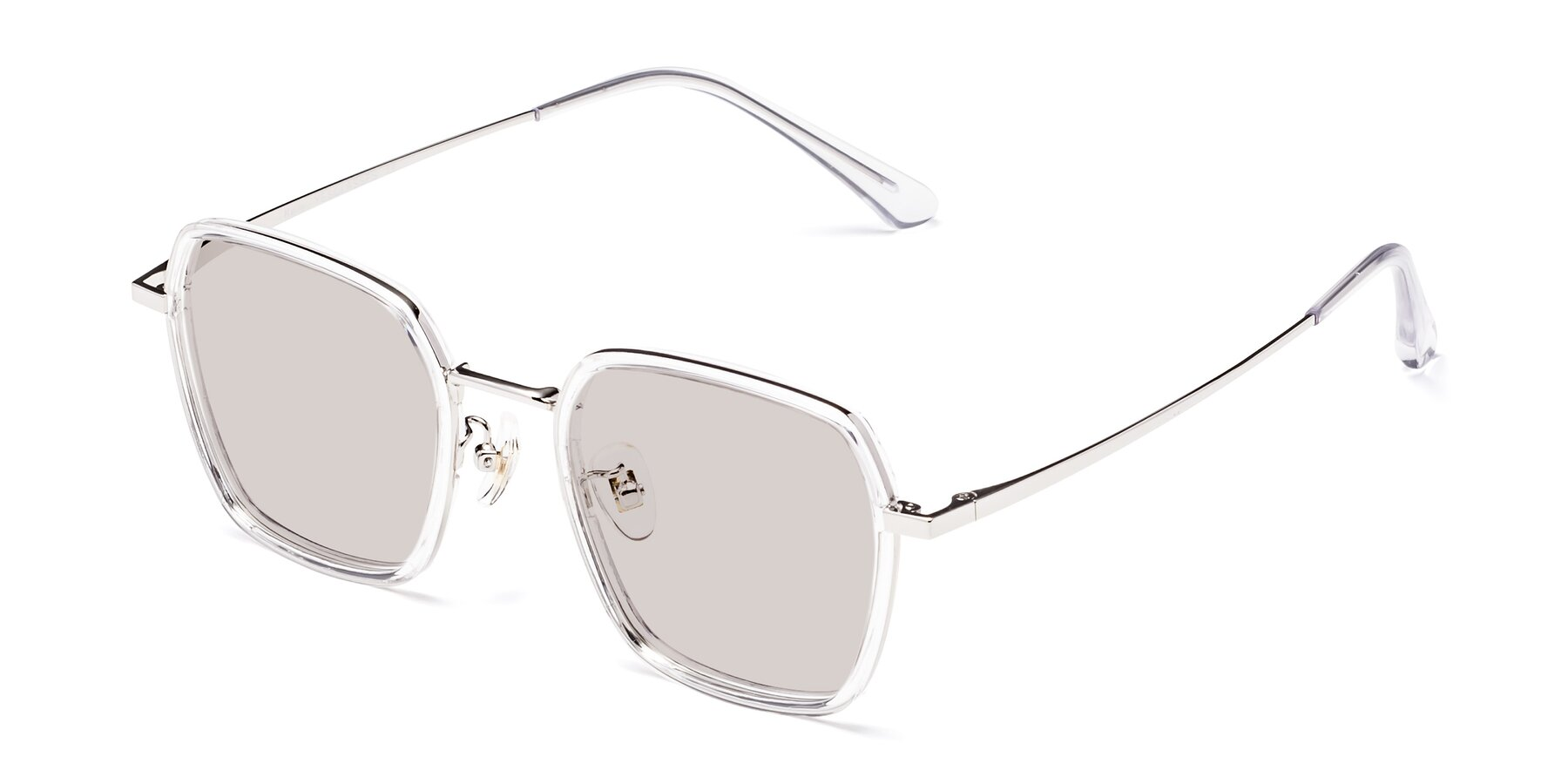 Angle of Kelly in Clear-Silver with Light Brown Tinted Lenses