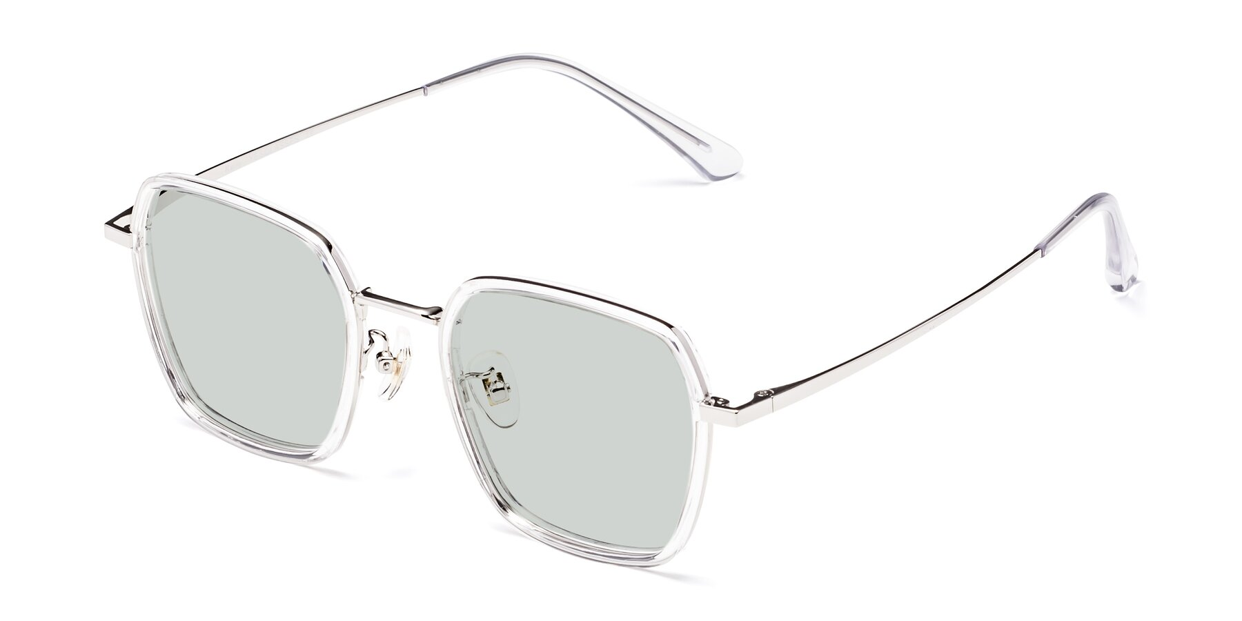 Angle of Kelly in Clear-Silver with Light Green Tinted Lenses