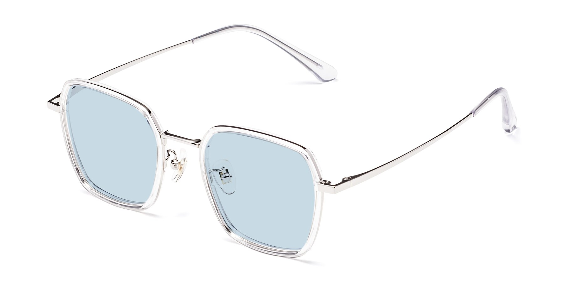 Angle of Kelly in Clear-Silver with Light Blue Tinted Lenses