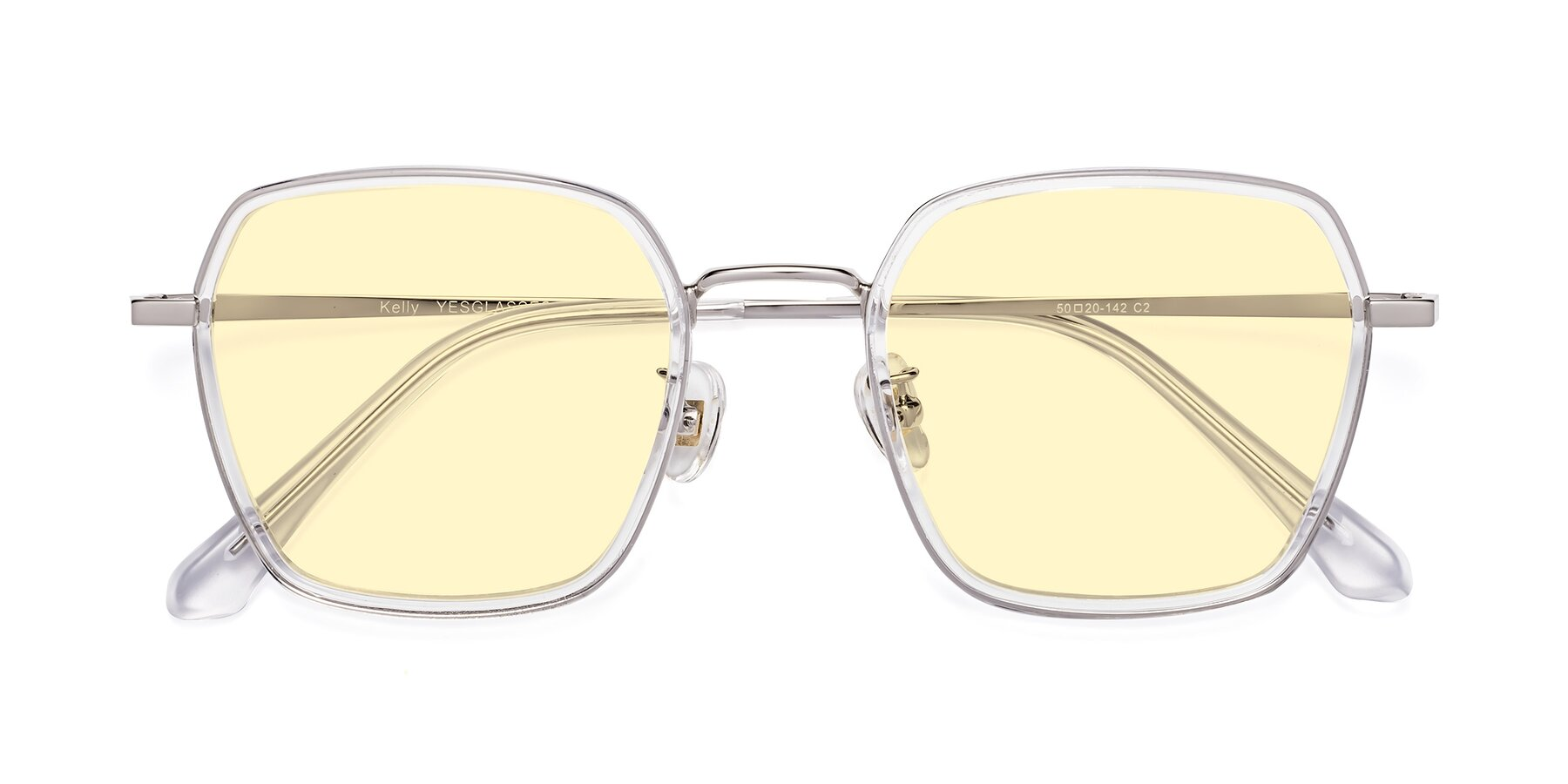 Folded Front of Kelly in Clear-Silver with Light Yellow Tinted Lenses