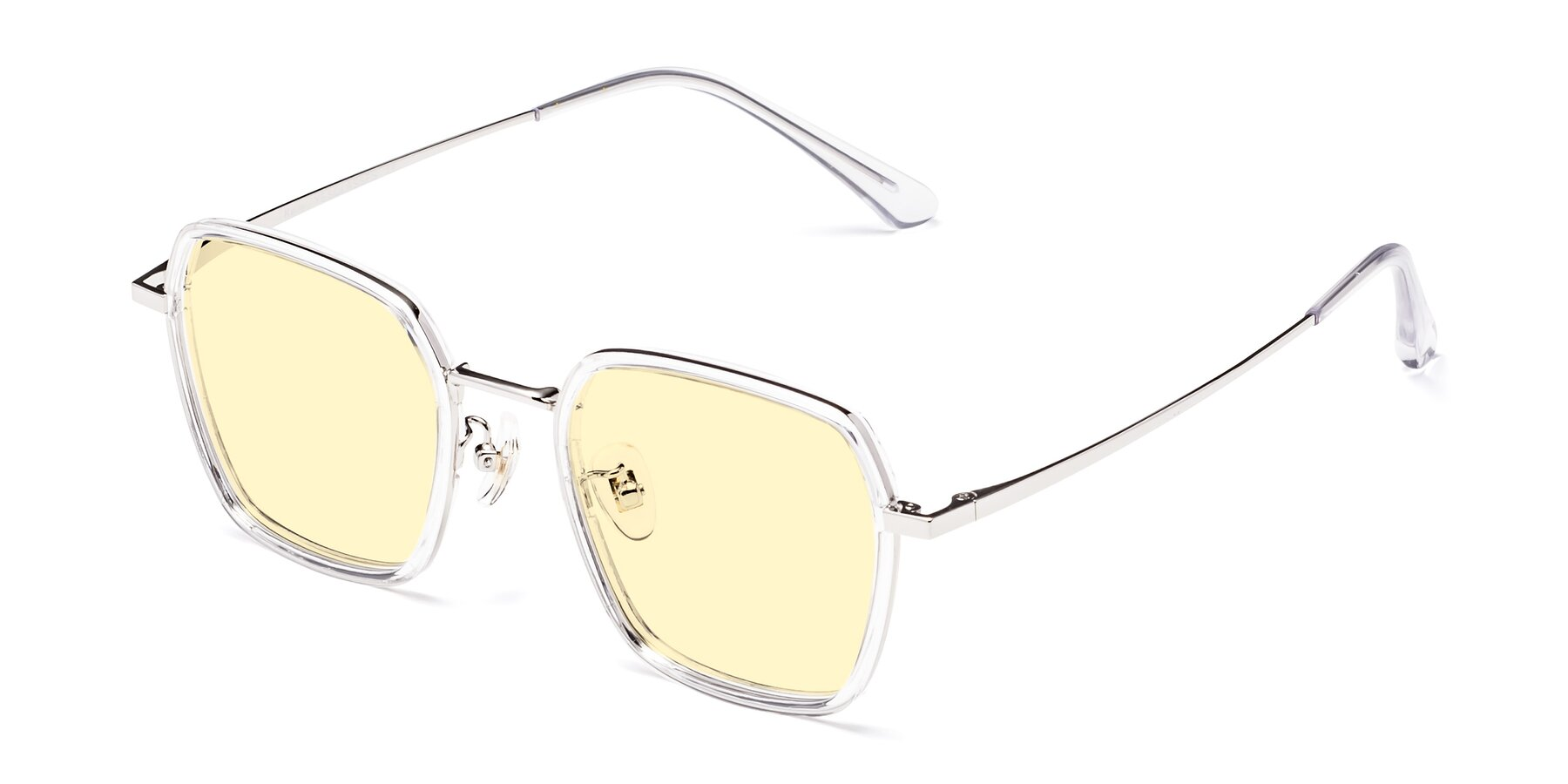 Angle of Kelly in Clear-Silver with Light Yellow Tinted Lenses