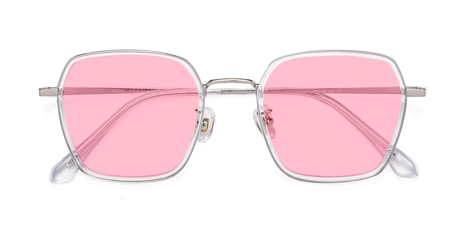Folded Front of Kelly in Clear-Silver with Medium Pink Tinted Lenses