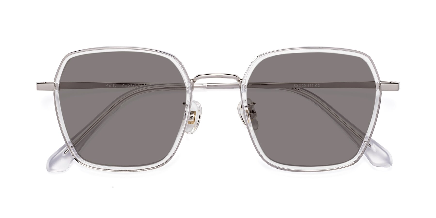 Folded Front of Kelly in Clear-Silver with Medium Gray Tinted Lenses