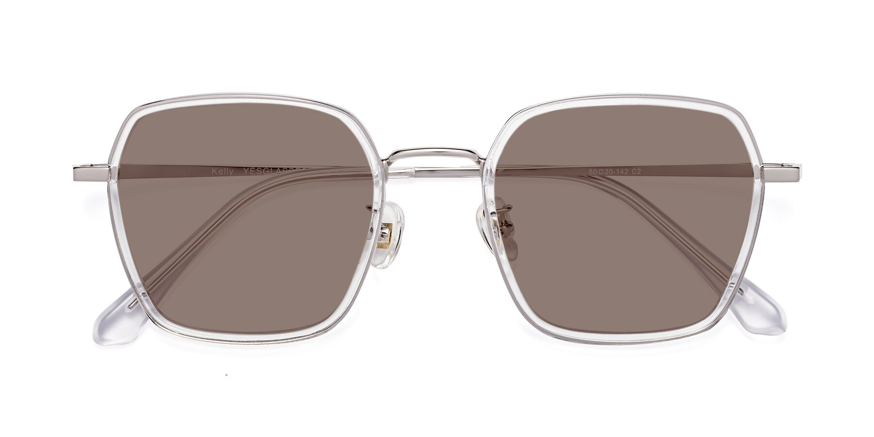Folded Front of Kelly in Clear-Silver with Medium Brown Tinted Lenses