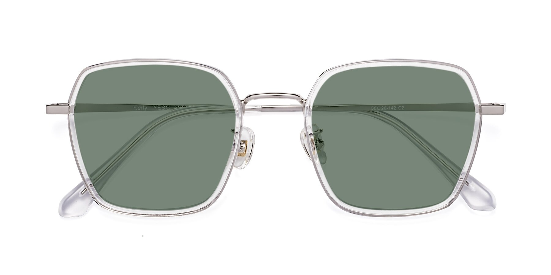 Folded Front of Kelly in Clear-Silver with Medium Green Tinted Lenses