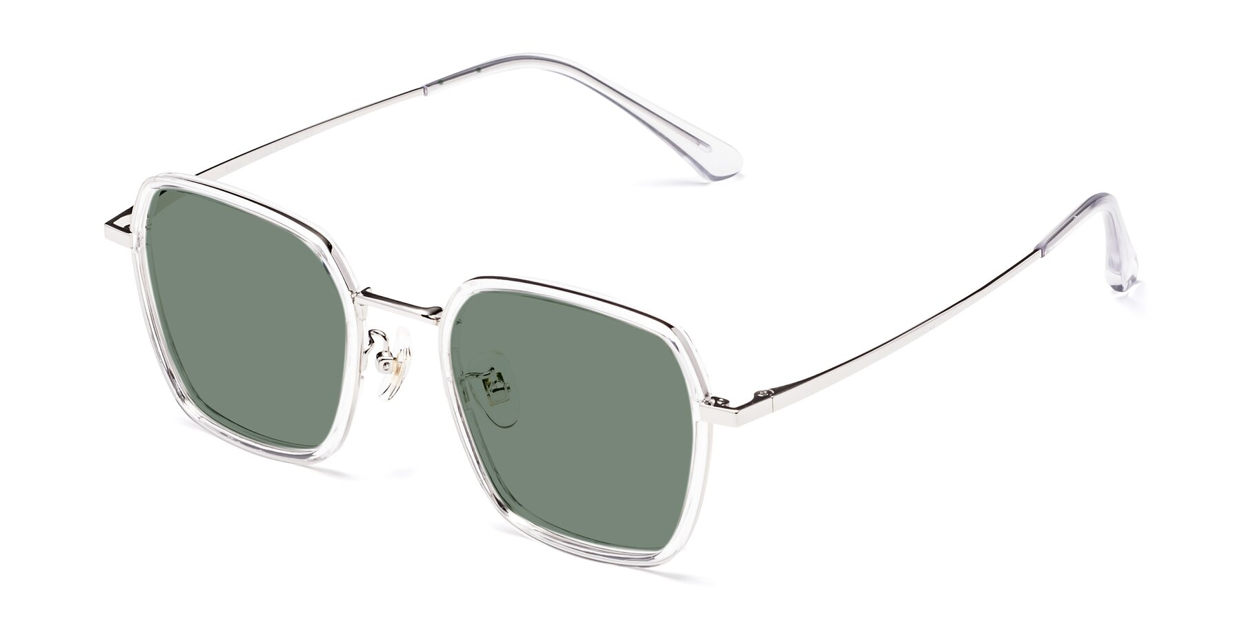 Angle of Kelly in Clear-Silver with Medium Green Tinted Lenses