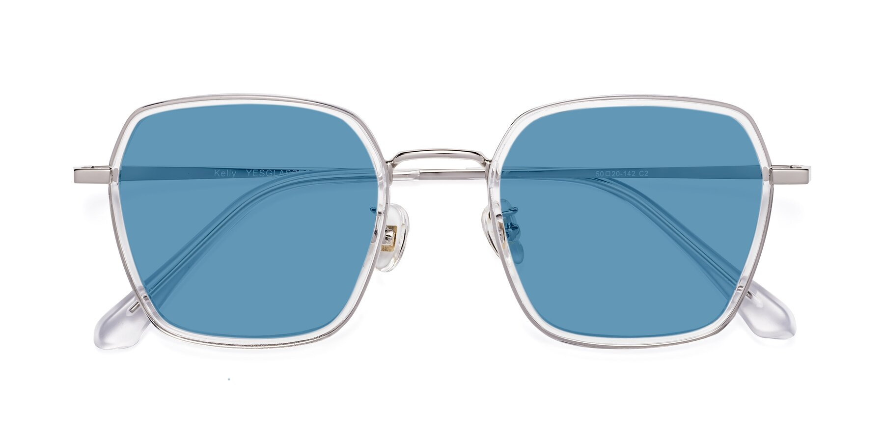 Folded Front of Kelly in Clear-Silver with Medium Blue Tinted Lenses