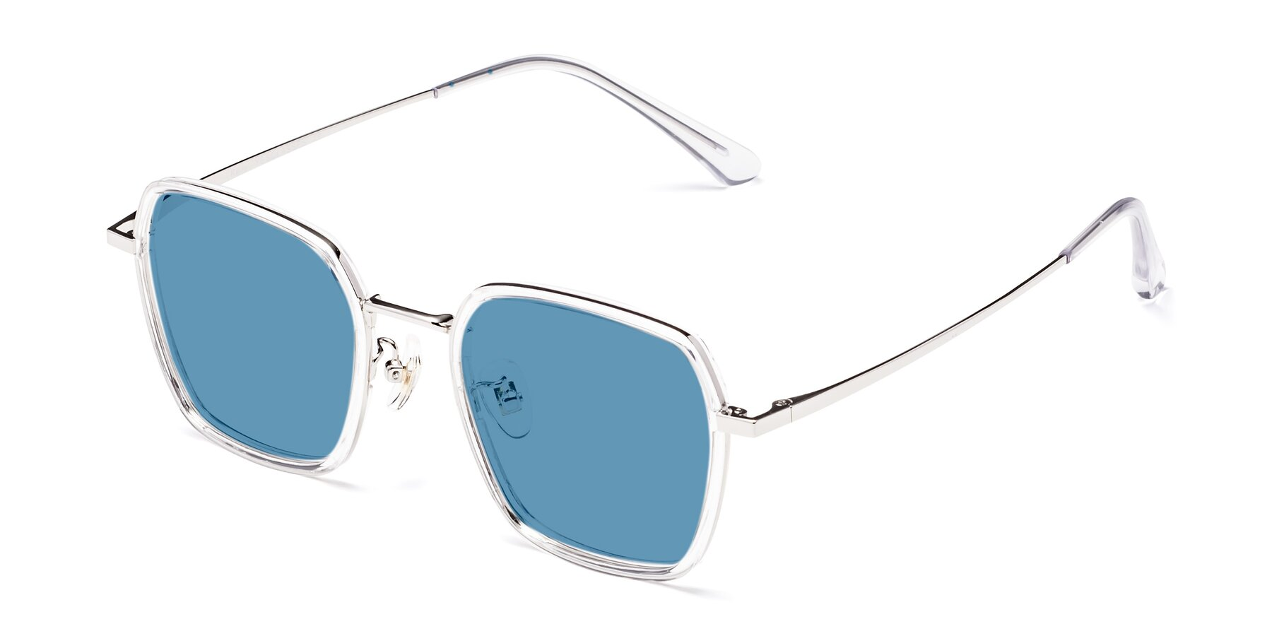 Angle of Kelly in Clear-Silver with Medium Blue Tinted Lenses