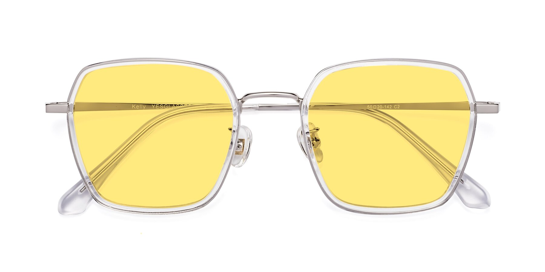 Folded Front of Kelly in Clear-Silver with Medium Yellow Tinted Lenses