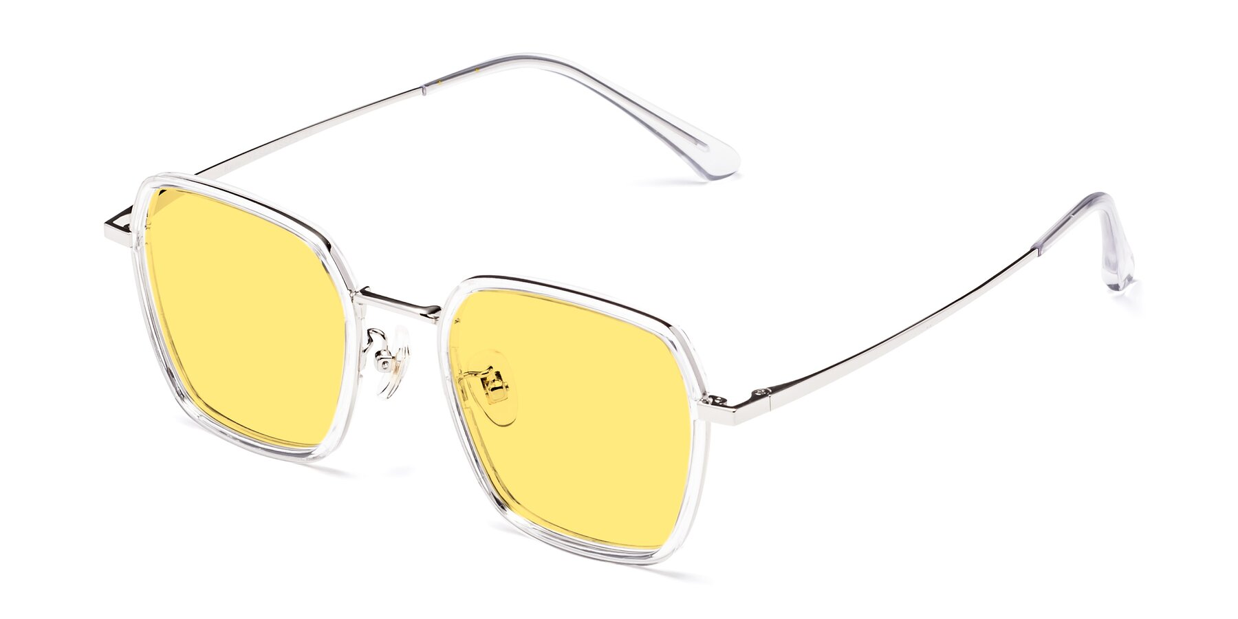 Angle of Kelly in Clear-Silver with Medium Yellow Tinted Lenses