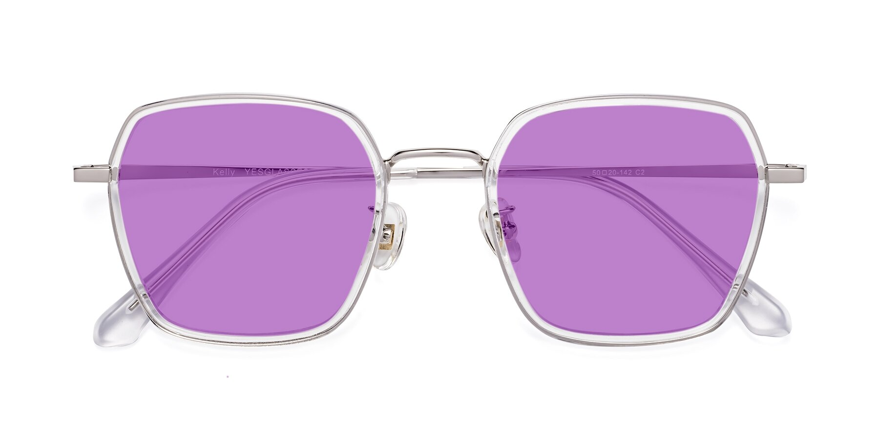 Folded Front of Kelly in Clear-Silver with Medium Purple Tinted Lenses
