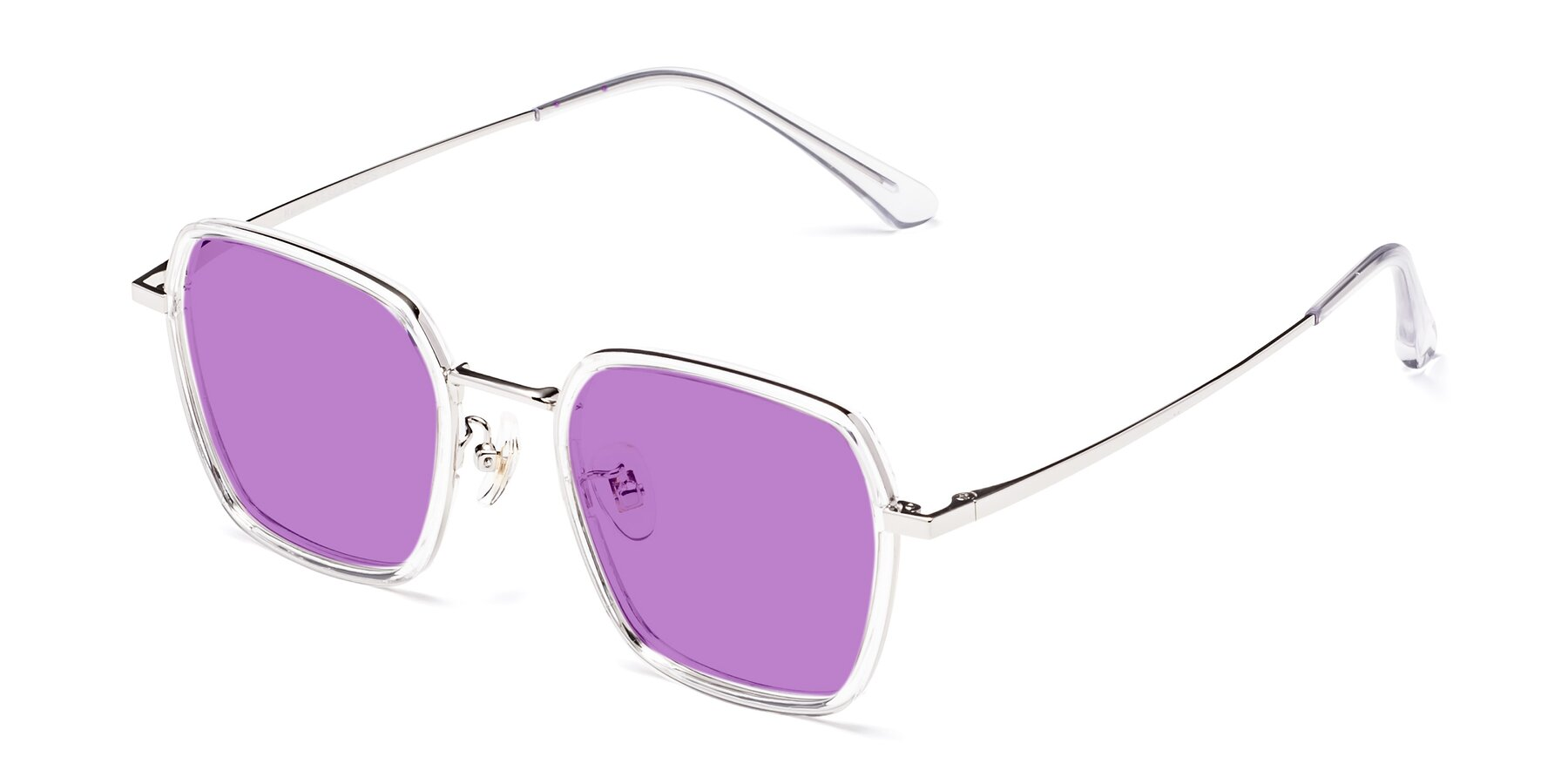 Angle of Kelly in Clear-Silver with Medium Purple Tinted Lenses
